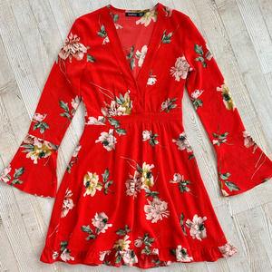 Boohoo Floral Print Long Sleeve Dress 4